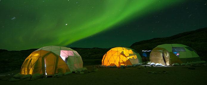 Groenlandia campamento Tierras Polares aurora boreal