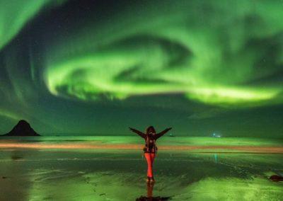 Viaje de auroras boreales en septiembre en Lofoten